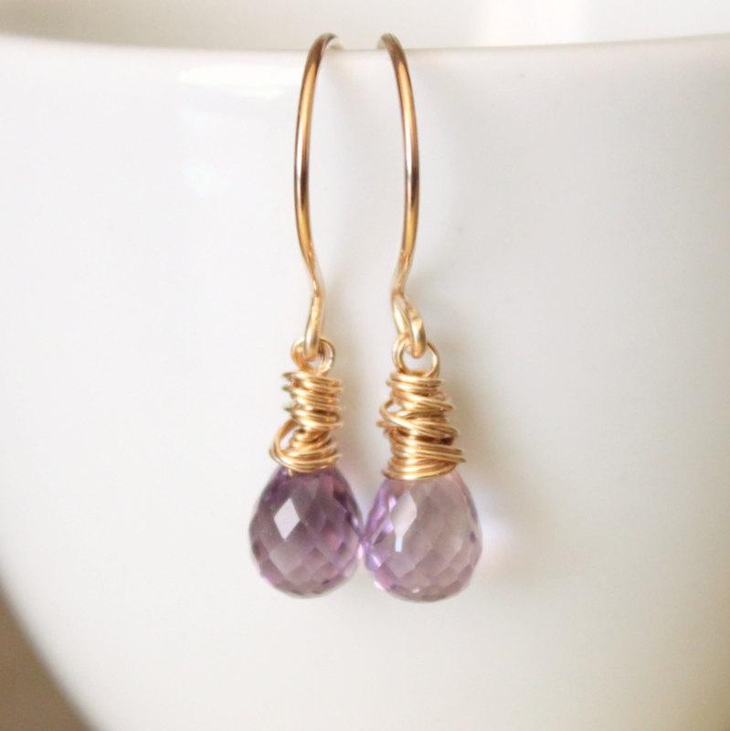 Lavender Amethyst Yellow Gold Earrings Wirewrapped Bridesmaid Feminine