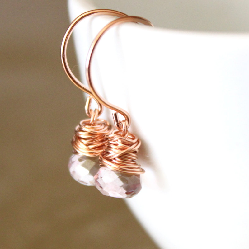 Pink Quartz Rose Gold Earrings Wirewrapped Bridesmaid Feminine on Luulla