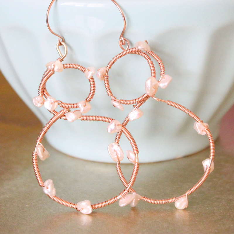 FIGURE EIGHTS--Rose Gold Wrapped Keishi Pearl Hoops