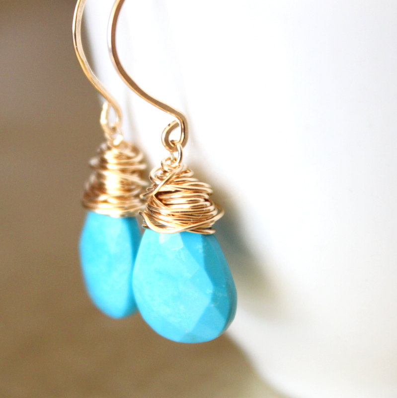 Sleeping Beauty Turquoise Earrings Wirewred Gold Fill Wire Handmade Earwires