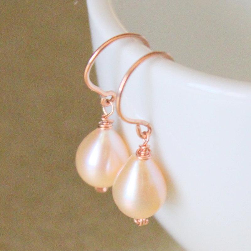 Rose Pink Teardrop Pearls And Gold Earrings