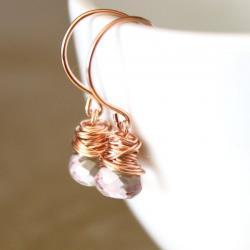 Pink Quartz Rose Gold Earrings Wirewrapped Bridesmaid Feminine