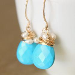 Sleeping Beauty Turquoise Rice Pearl Earrings Wirewrapped Gold Fill Wire Handmade Earwires