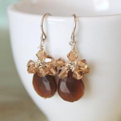Brown Carnelian and Golden Swarovski Crystal Sterling Silver Earrings