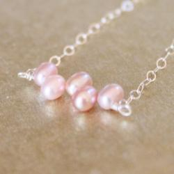 Mauve Freshwater Pearl Sterling Silver Chain Bracelet