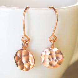 Hammered Rose Gold Disc Earrings