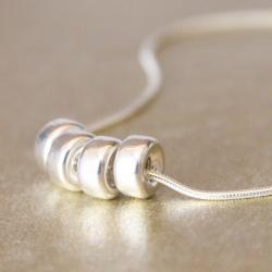 SALE-POLISHED RINGS--Smooth Sterling Silver Rings and Rope Chain Necklace