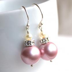 BELLA--Swarovski Crystal Pearl Sterling Silver Earrings--you choose the color